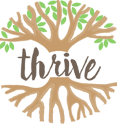 Thrive logo brown text and light green